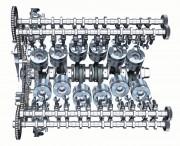 Razvodni sustav 12-cilindričnog turbodieselskog V motora s 2 bregasta vratila u svakoj glavi i 4 ventila po cilindru(Audi AG)