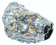 CVT mjenjač Multitronic - vidljiva su dva para konusa i prijenosni lanac. Desni donji konus je prikazan u presjeku (Audi AG)