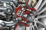 Presjek glavčine kotača s ležajem, diskom kočnice i naplatkom Mercedes-Benza SLK (Daimler AG)