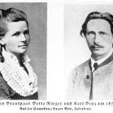 Mladenci, Bertha Ringer i Carl Benz. Zapravo, par se vjenčao 20. srpnja 1872.