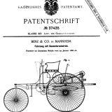 """Carl Benz je patent za svoju """"kočiju bez konja"""" predao Carskom zavodu za patente u Berlinu 29. siječnja 1886. Patent je odobren 2. studenog iste godine"""