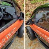 Otvaranje prozora zahtijeva nešto manje elektromotora nego li u kakvom automobilu :-) Lijevo je otvoreni prozor s prozirnom folijom koja je pričvršćena čičak-trakom, a desno je zatvoreni prozor s dvostrukim patentnim zatvaračem